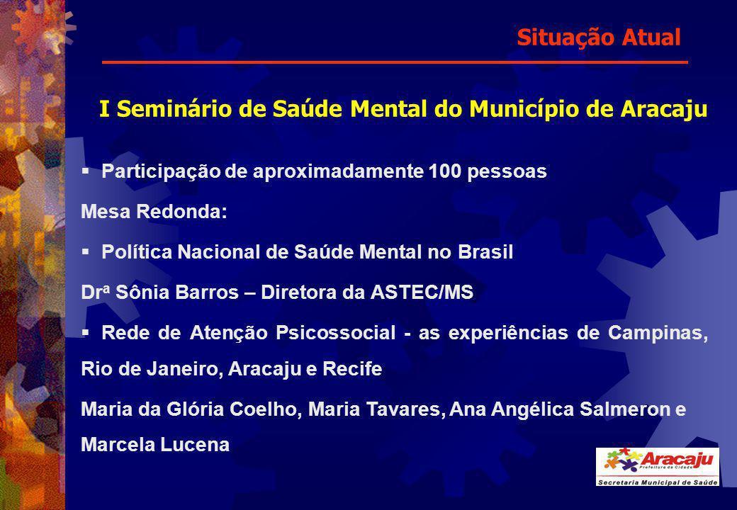 I Seminário de Saúde Mental do Município de Aracaju Participação de aproximadamente 100 pessoas Mesa Redonda: Política Nacional de Saúde Mental no Bra