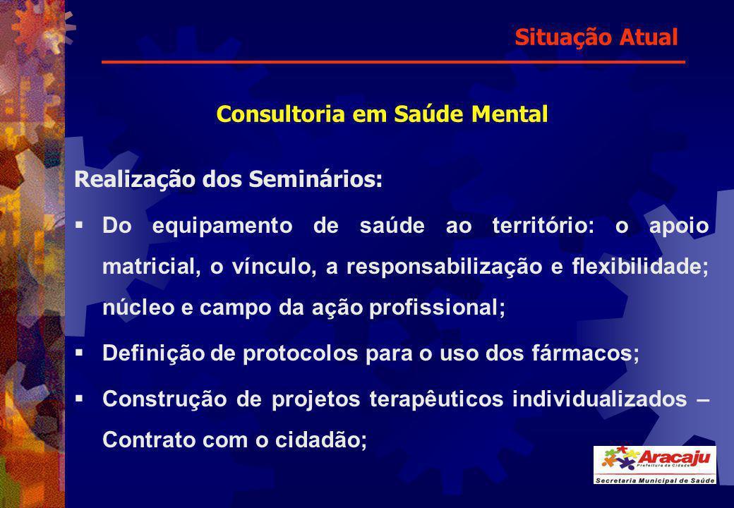 Consultoria em Saúde Mental Realização dos Seminários: Do equipamento de saúde ao território: o apoio matricial, o vínculo, a responsabilização e flex