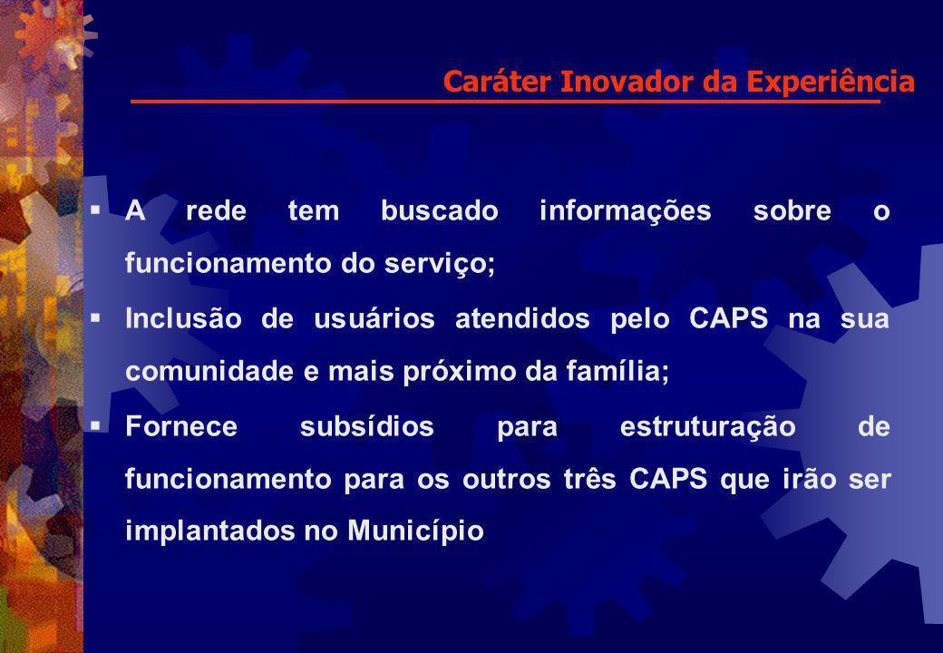 Caráter Inovador da Experiência A rede tem buscado informações sobre o funcionamento do serviço; Inclusão de usuários atendidos pelo CAPS na sua comun