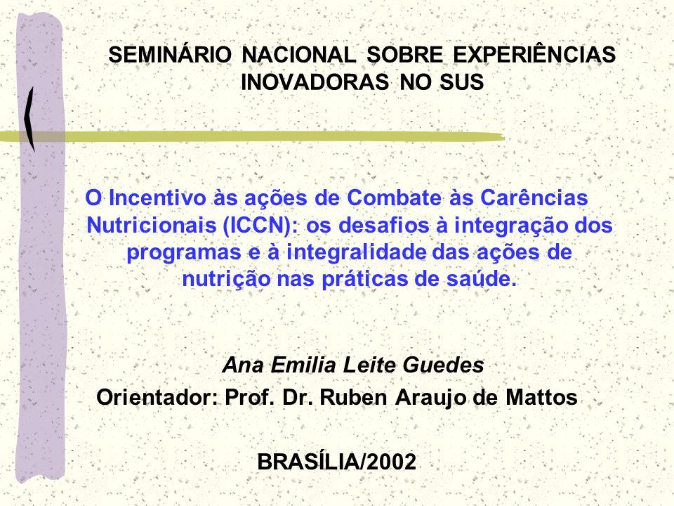 SEMINÁRIO NACIONAL SOBRE EXPERIÊNCIAS INOVADORAS NO SUS O Incentivo às ações de Combate às Carências Nutricionais (ICCN): os desafios à integração dos