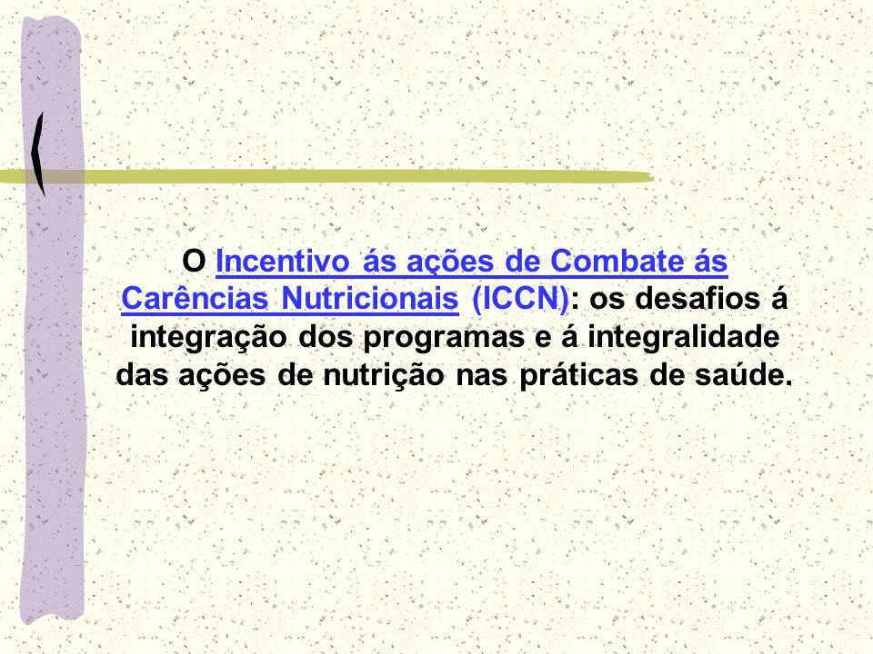O Incentivo ás ações de Combate ás Carências Nutricionais (ICCN): os desafios á integração dos programas e á integralidade das ações de nutrição nas p