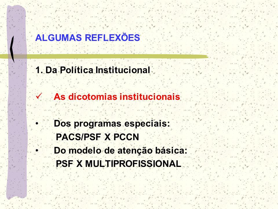 ALGUMAS REFLEXÕES 1. Da Política Institucional As dicotomias institucionais Dos programas especiais: PACS/PSF X PCCN Do modelo de atenção básica: PSF