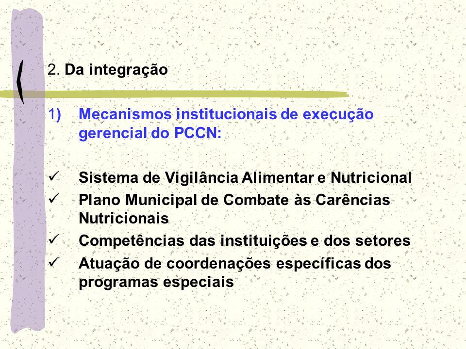 2. Da integração 1) Mecanismos institucionais de execução gerencial do PCCN: Sistema de Vigilância Alimentar e Nutricional Plano Municipal de Combate