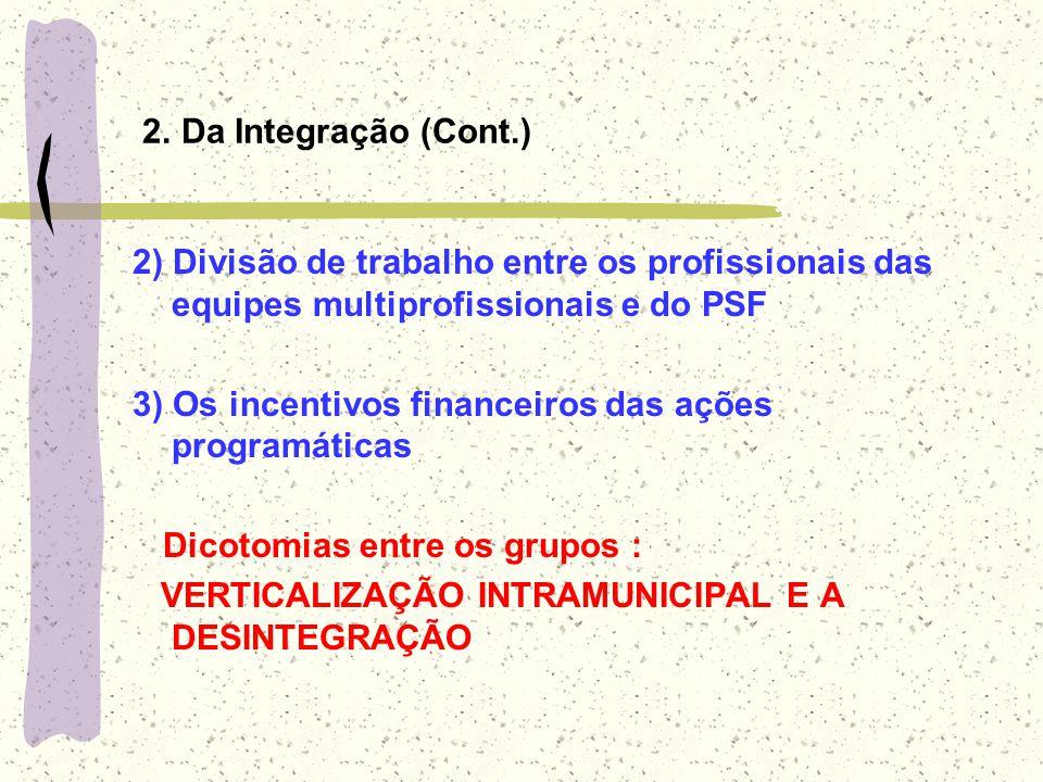 2. Da Integração (Cont.) 2) Divisão de trabalho entre os profissionais das equipes multiprofissionais e do PSF 3) Os incentivos financeiros das ações