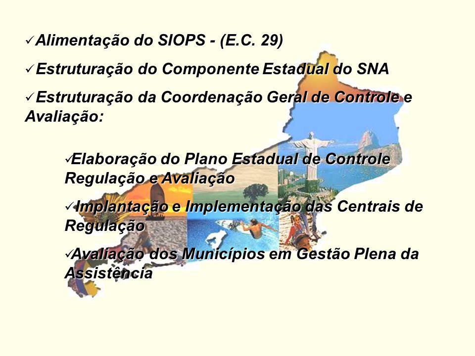 Alimentação do SIOPS - (E.C. 29) Estruturação do Componente Estadual do SNA Estruturação do Componente Estadual do SNA Estruturação da Coordenação Ger