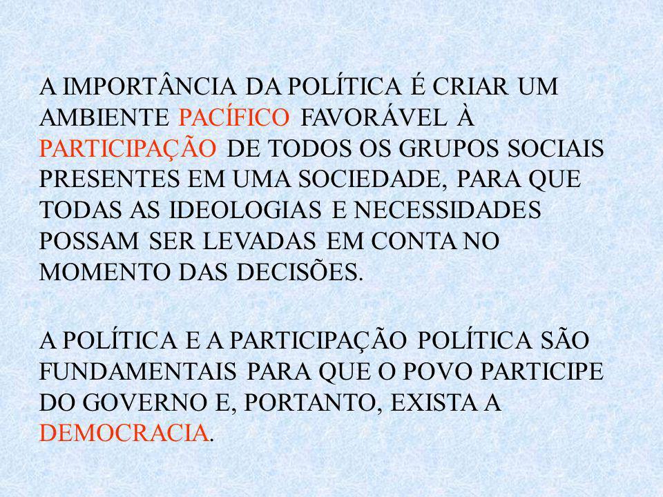 A IMPORTÂNCIA DA POLÍTICA É CRIAR UM AMBIENTE PACÍFICO FAVORÁVEL À PARTICIPAÇÃO DE TODOS OS GRUPOS SOCIAIS PRESENTES EM UMA SOCIEDADE, PARA QUE TODAS