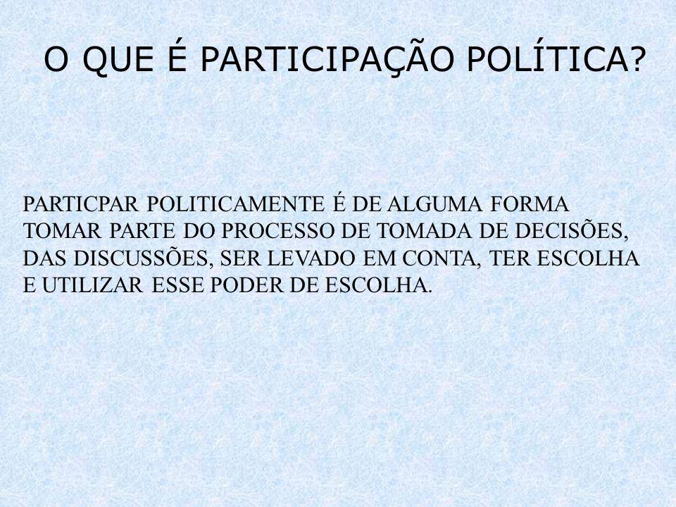 O QUE É PARTICIPAÇÃO POLÍTICA? PARTICPAR POLITICAMENTE É DE ALGUMA FORMA TOMAR PARTE DO PROCESSO DE TOMADA DE DECISÕES, DAS DISCUSSÕES, SER LEVADO EM