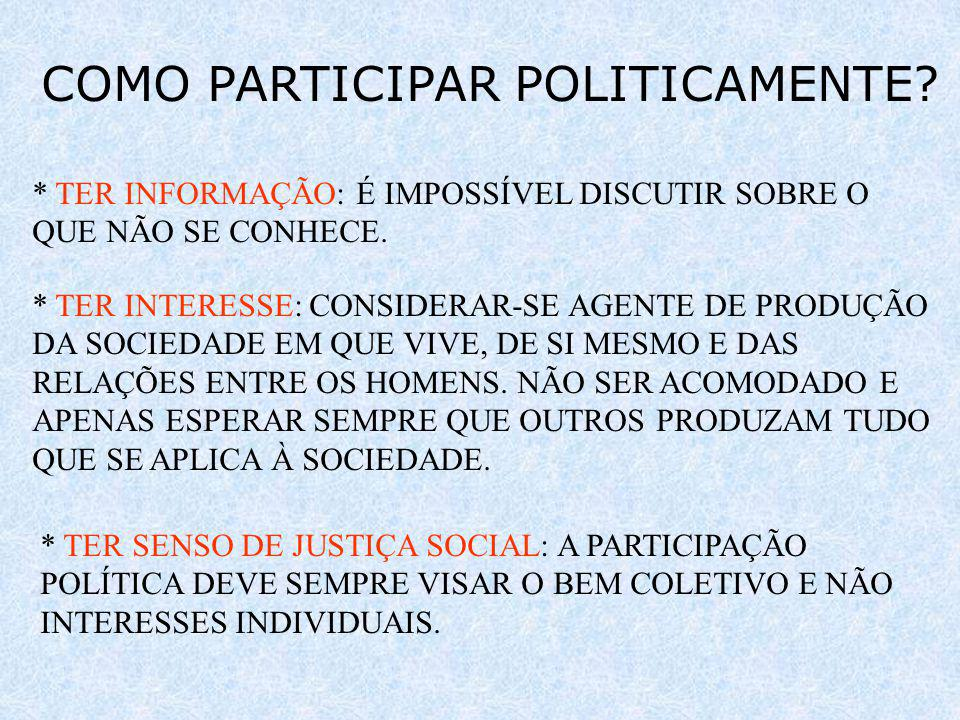 COMO PARTICIPAR POLITICAMENTE.* TER INFORMAÇÃO: É IMPOSSÍVEL DISCUTIR SOBRE O QUE NÃO SE CONHECE.