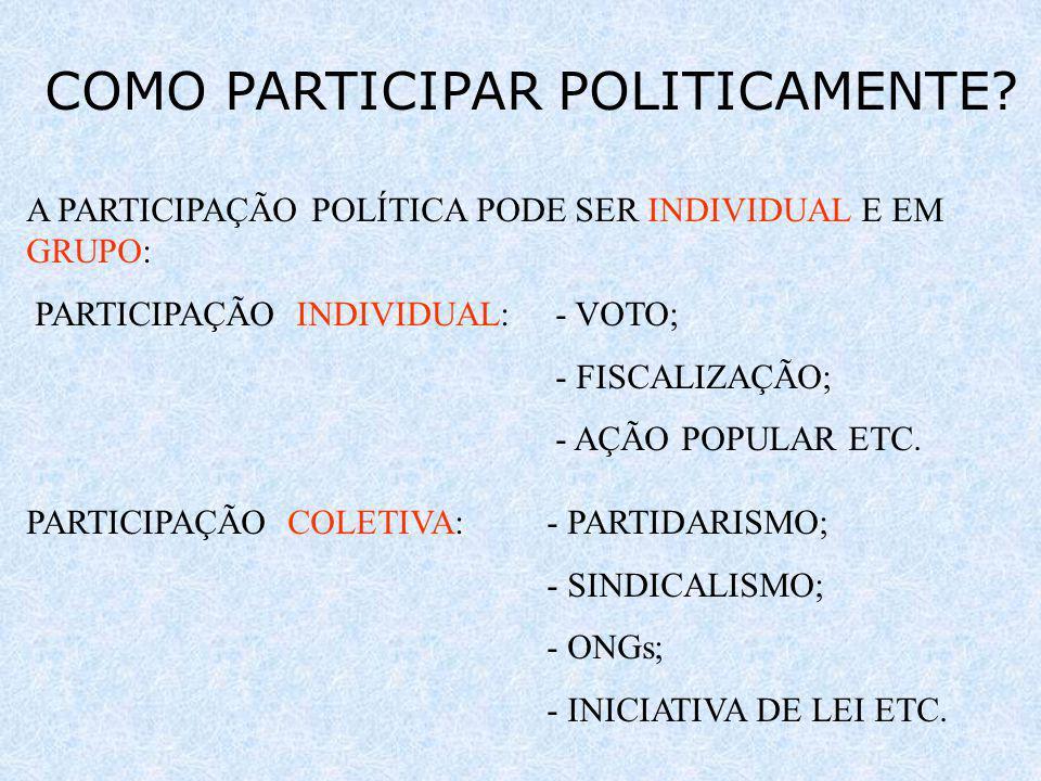 COMO PARTICIPAR POLITICAMENTE? A PARTICIPAÇÃO POLÍTICA PODE SER INDIVIDUAL E EM GRUPO: PARTICIPAÇÃO INDIVIDUAL:- VOTO; - FISCALIZAÇÃO; - AÇÃO POPULAR
