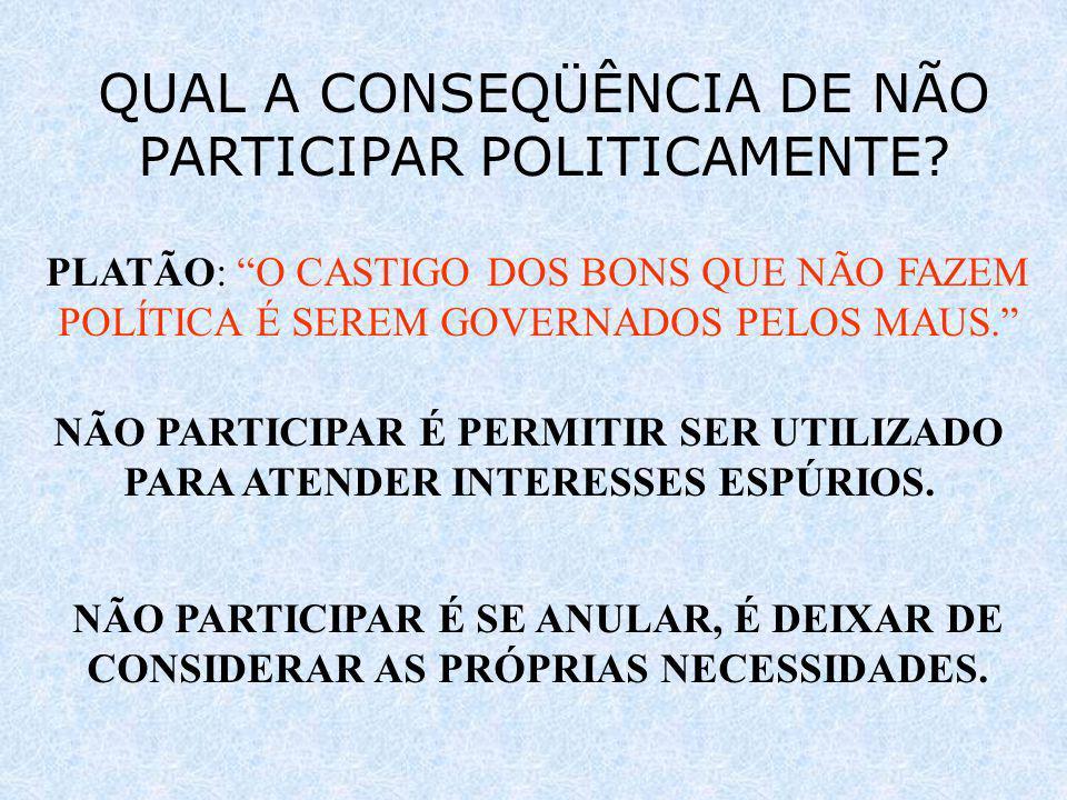 QUAL A CONSEQÜÊNCIA DE NÃO PARTICIPAR POLITICAMENTE? PLATÃO: O CASTIGO DOS BONS QUE NÃO FAZEM POLÍTICA É SEREM GOVERNADOS PELOS MAUS. NÃO PARTICIPAR É