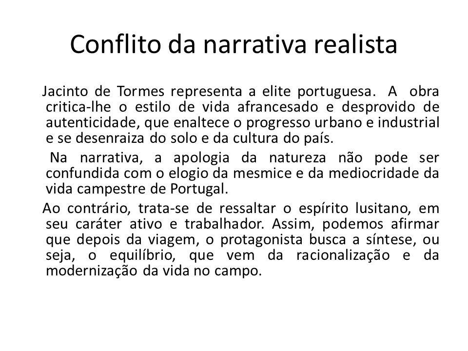 Conflito da narrativa realista Jacinto de Tormes representa a elite portuguesa. A obra critica-lhe o estilo de vida afrancesado e desprovido de autent