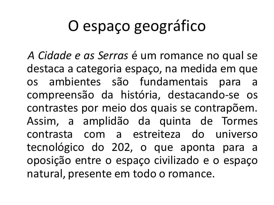 O espaço geográfico A Cidade e as Serras é um romance no qual se destaca a categoria espaço, na medida em que os ambientes são fundamentais para a com