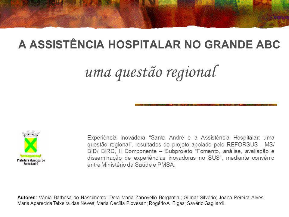 A ASSISTÊNCIA HOSPITALAR NO GRANDE ABC uma questão regional Experiência Inovadora Santo André e a Assistência Hospitalar: uma questão regional, result