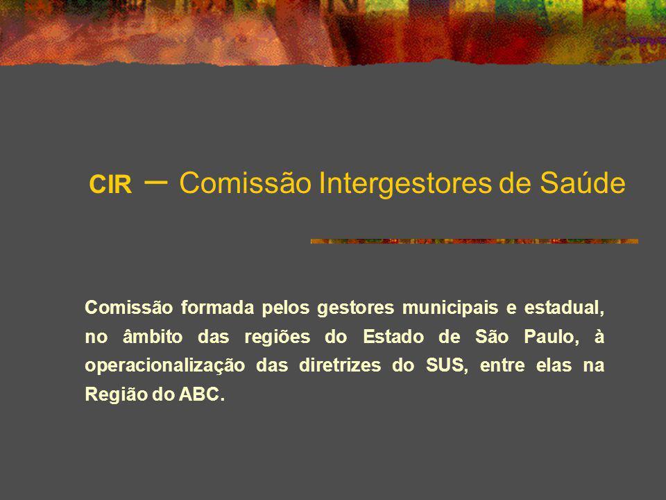 CIR – Comissão Intergestores de Saúde Comissão formada pelos gestores municipais e estadual, no âmbito das regiões do Estado de São Paulo, à operacion