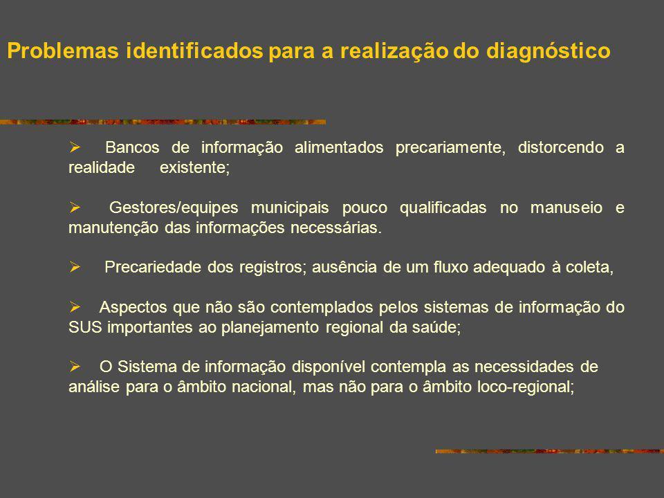 Bancos de informação alimentados precariamente, distorcendo a realidade existente; Gestores/equipes municipais pouco qualificadas no manuseio e manute