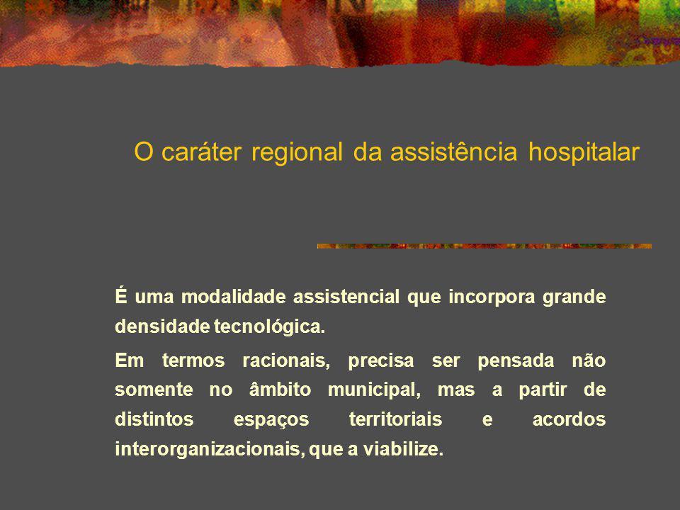O caráter regional da assistência hospitalar É uma modalidade assistencial que incorpora grande densidade tecnológica. Em termos racionais, precisa se
