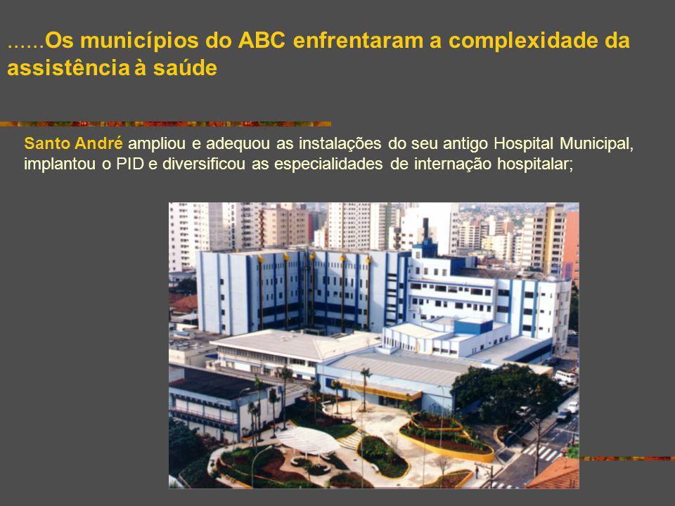 ......Os municípios do ABC enfrentaram a complexidade da assistência à saúde Santo André ampliou e adequou as instalações do seu antigo Hospital Munic