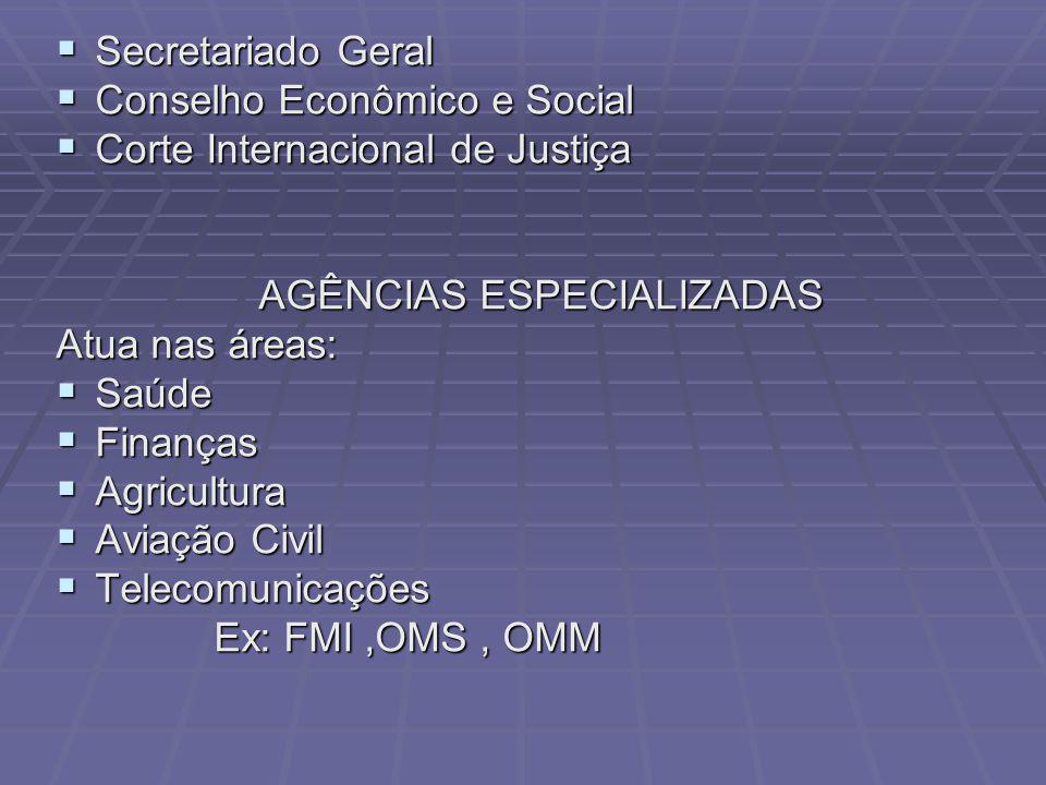 Secretariado Geral Secretariado Geral Conselho Econômico e Social Conselho Econômico e Social Corte Internacional de Justiça Corte Internacional de Ju