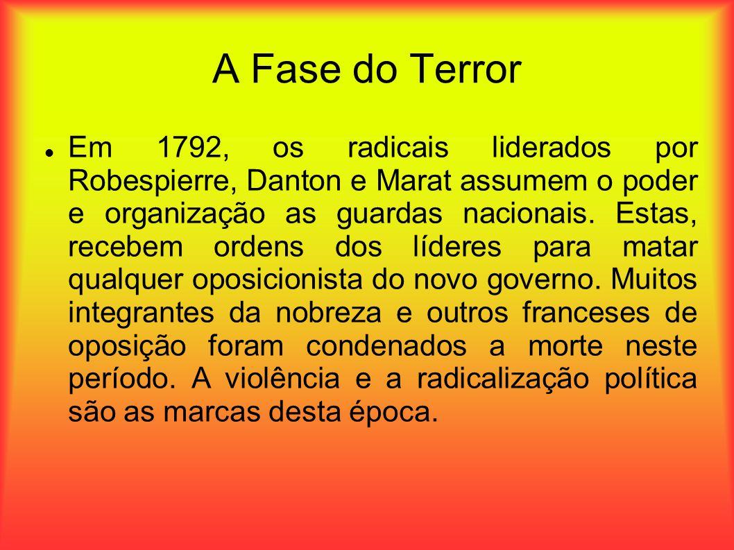A Fase do Terror Em 1792, os radicais liderados por Robespierre, Danton e Marat assumem o poder e organização as guardas nacionais. Estas, recebem ord