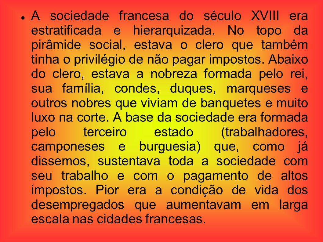 A sociedade francesa do século XVIII era estratificada e hierarquizada. No topo da pirâmide social, estava o clero que também tinha o privilégio de nã
