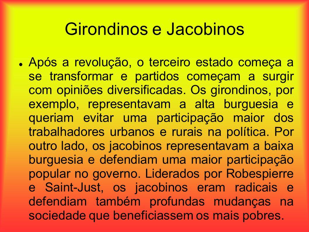 Girondinos e Jacobinos Após a revolução, o terceiro estado começa a se transformar e partidos começam a surgir com opiniões diversificadas. Os girondi