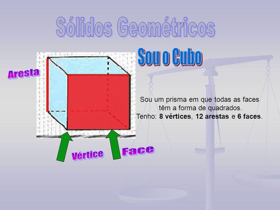 Sou um prisma em que todas as faces têm a forma de quadrados. Tenho: 8 vértices, 12 arestas e 6 faces.