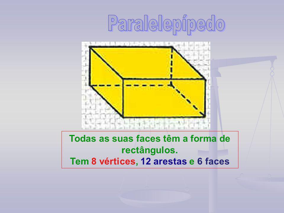 Todas as suas faces têm a forma de rectângulos. Tem 8 vértices, 12 arestas e 6 faces
