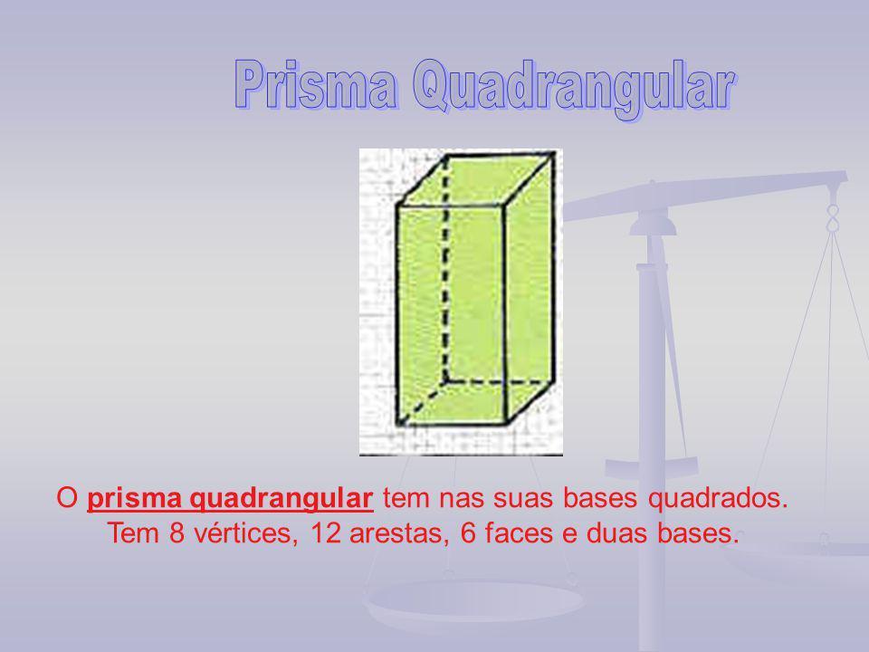 O prisma quadrangular tem nas suas bases quadrados. Tem 8 vértices, 12 arestas, 6 faces e duas bases.
