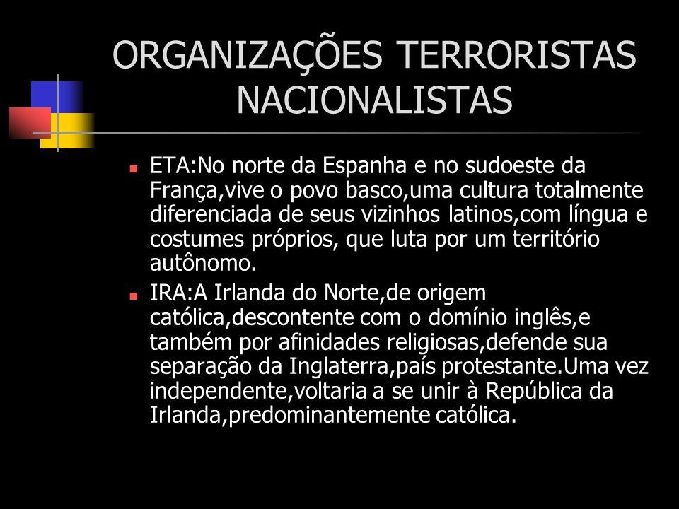 ORGANIZAÇÕES TERRORISTAS NACIONALISTAS ETA:No norte da Espanha e no sudoeste da França,vive o povo basco,uma cultura totalmente diferenciada de seus v