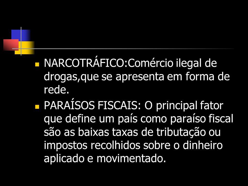 NARCOTRÁFICO:Comércio ilegal de drogas,que se apresenta em forma de rede. PARAÍSOS FISCAIS: O principal fator que define um país como paraíso fiscal s