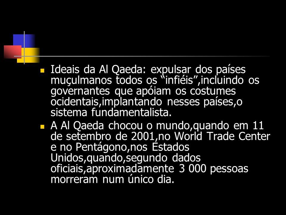 Ideais da Al Qaeda: expulsar dos países muçulmanos todos os infiéis,incluindo os governantes que apóiam os costumes ocidentais,implantando nesses país
