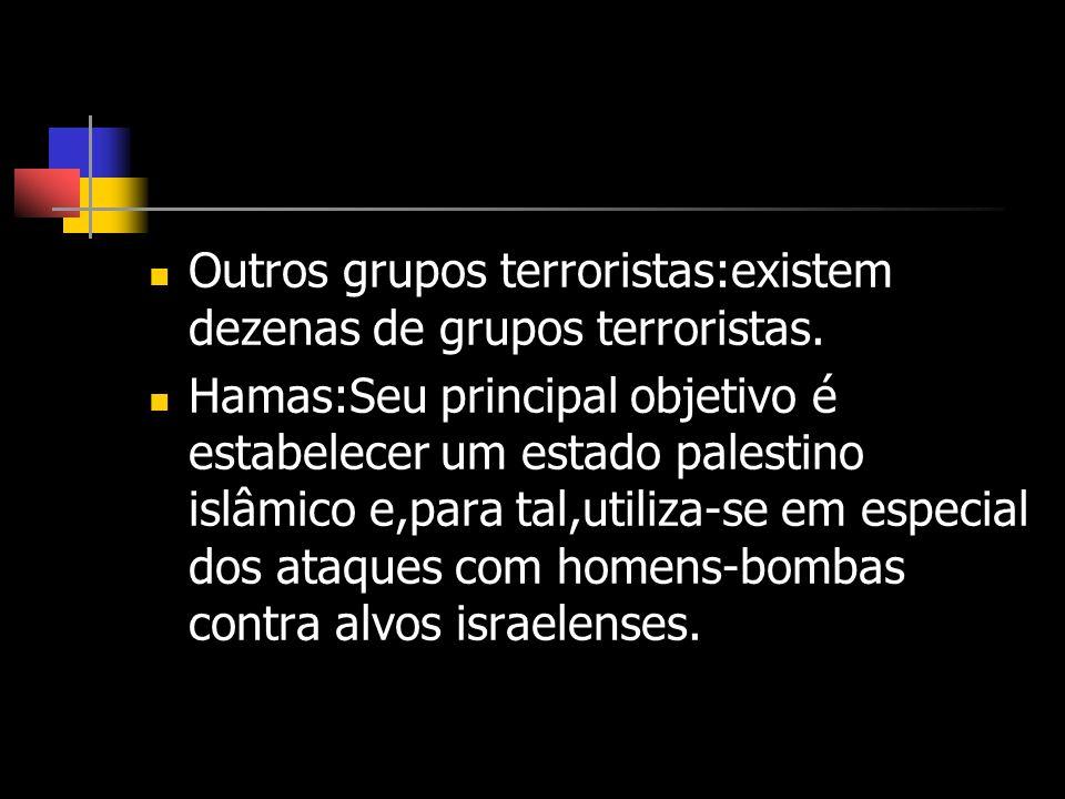 Outros grupos terroristas:existem dezenas de grupos terroristas. Hamas:Seu principal objetivo é estabelecer um estado palestino islâmico e,para tal,ut