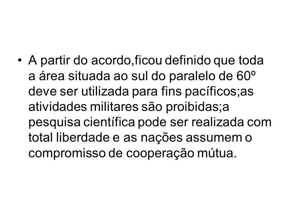 A partir do acordo,ficou definido que toda a área situada ao sul do paralelo de 60º deve ser utilizada para fins pacíficos;as atividades militares são