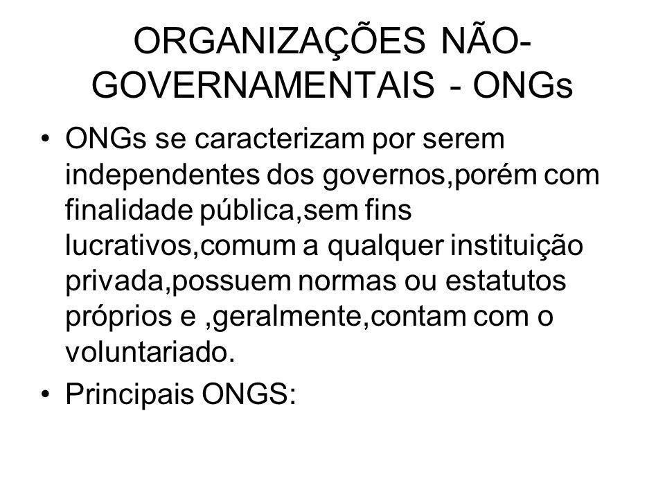 ORGANIZAÇÕES NÃO- GOVERNAMENTAIS - ONGs ONGs se caracterizam por serem independentes dos governos,porém com finalidade pública,sem fins lucrativos,com