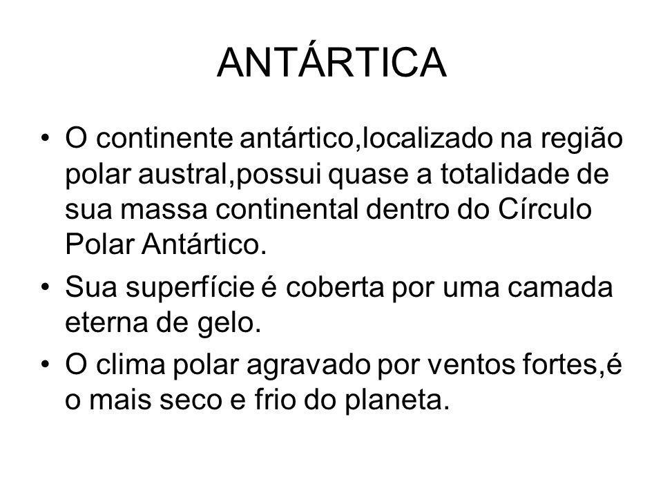 ANTÁRTICA O continente antártico,localizado na região polar austral,possui quase a totalidade de sua massa continental dentro do Círculo Polar Antárti