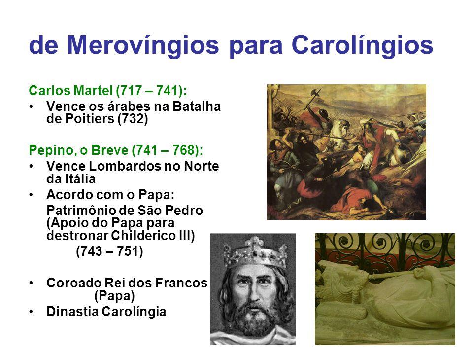de Merovíngios para Carolíngios Carlos Martel (717 – 741): Vence os árabes na Batalha de Poitiers (732) Pepino, o Breve (741 – 768): Vence Lombardos n