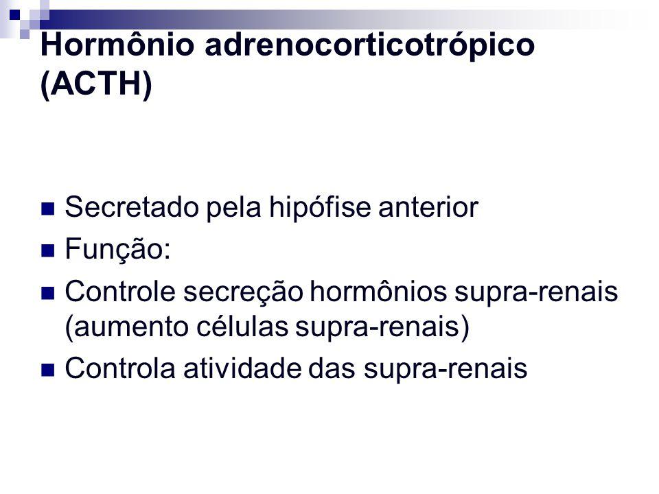 Hormônio adrenocorticotrópico (ACTH) Secretado pela hipófise anterior Função: Controle secreção hormônios supra-renais (aumento células supra-renais)