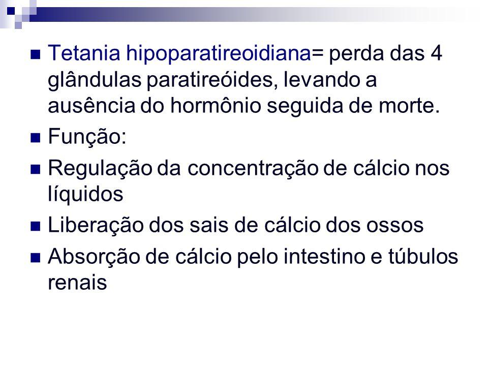 Tetania hipoparatireoidiana= perda das 4 glândulas paratireóides, levando a ausência do hormônio seguida de morte. Função: Regulação da concentração d