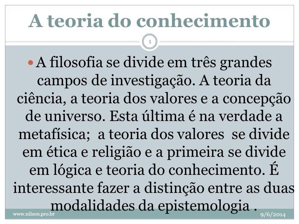 A teoria do conhecimento 9/6/2014 www.nilson.pro.br 1 A filosofia se divide em três grandes campos de investigação. A teoria da ciência, a teoria dos