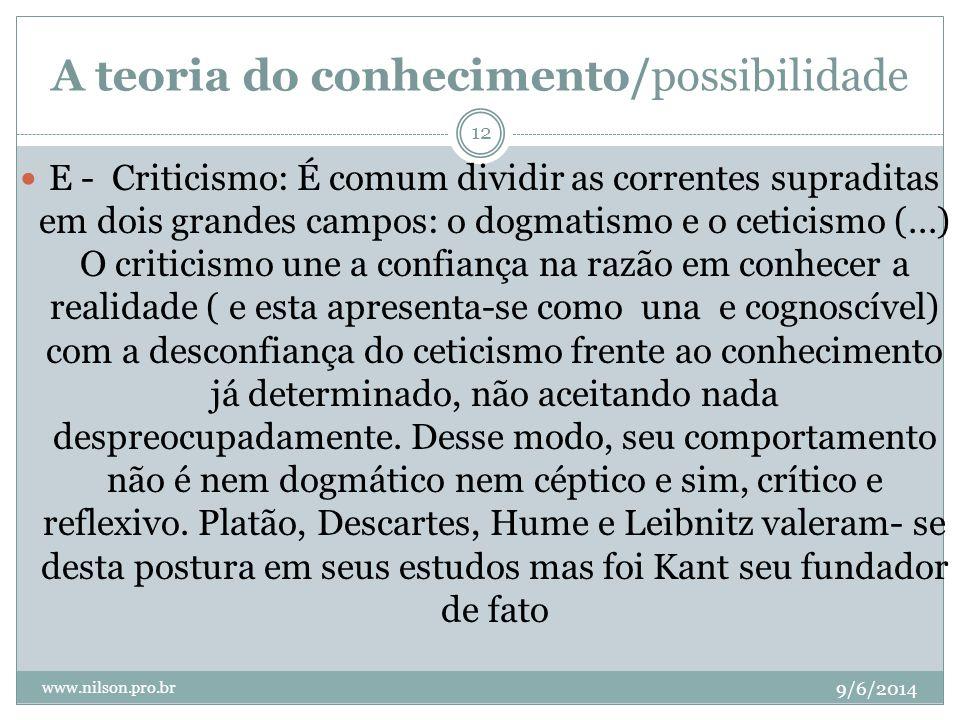 A teoria do conhecimento/possibilidade 9/6/2014 www.nilson.pro.br 12 E - Criticismo: É comum dividir as correntes supraditas em dois grandes campos: o