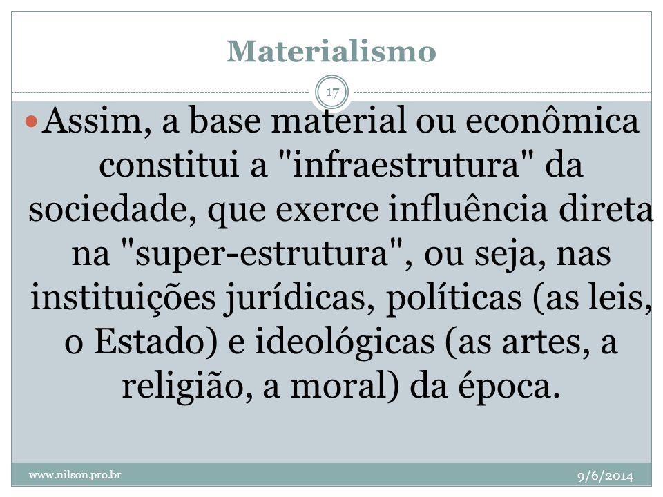 Materialismo 9/6/2014 www.nilson.pro.br 17 Assim, a base material ou econômica constitui a