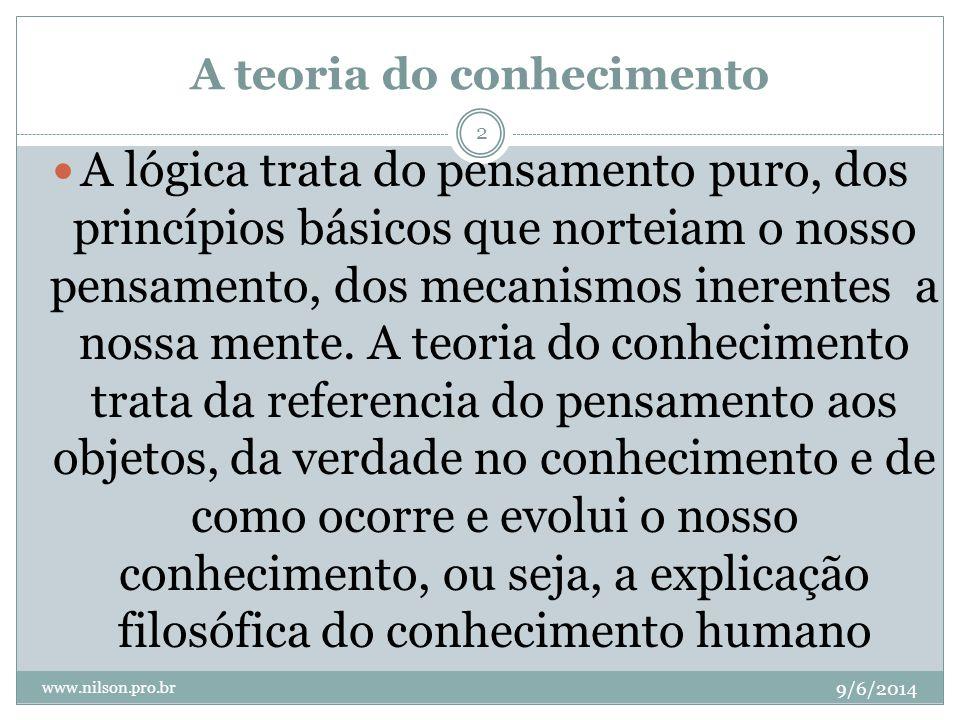 A teoria do conhecimento 9/6/2014 www.nilson.pro.br 2 A lógica trata do pensamento puro, dos princípios básicos que norteiam o nosso pensamento, dos m
