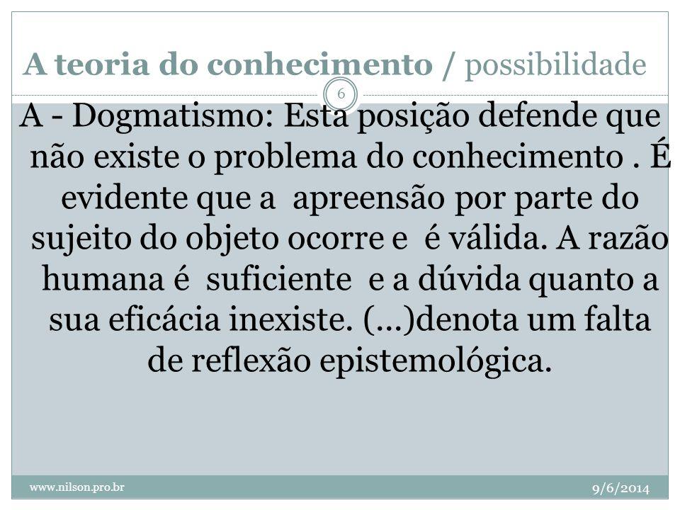 A teoria do conhecimento/possibilidade 9/6/2014 www.nilson.pro.br 7 B – Ceticismo: Apresenta-se como antítese do dogmatismo.