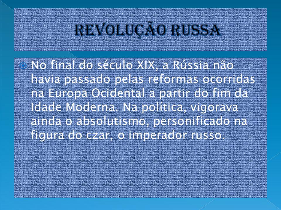 No final do século XIX, a Rússia não havia passado pelas reformas ocorridas na Europa Ocidental a partir do fim da Idade Moderna. Na política, vigorav