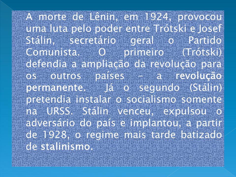 A morte de Lênin, em 1924, provocou uma luta pelo poder entre Trótski e Josef Stálin, secretário geral o Partido Comunista. O primeiro (Trótski) defen