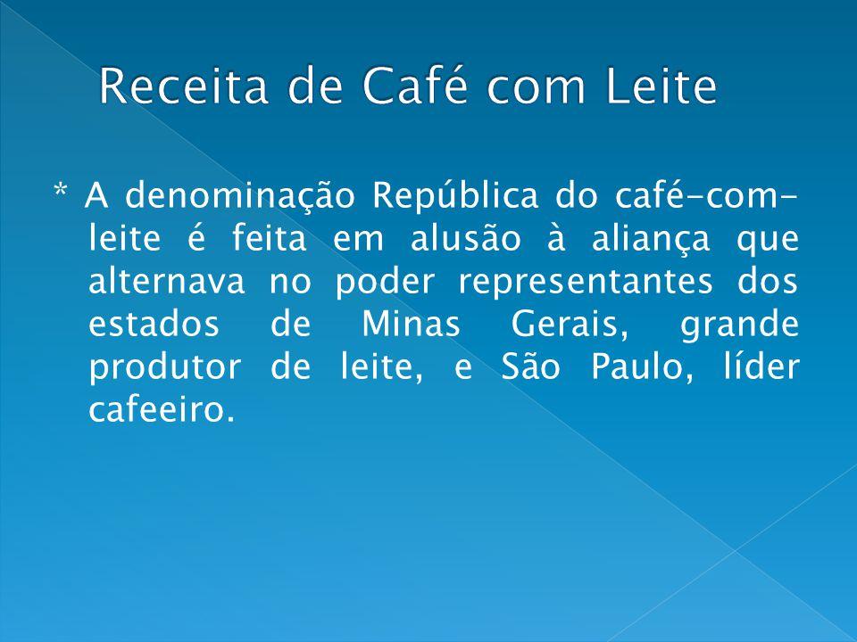 * A denominação República do café-com- leite é feita em alusão à aliança que alternava no poder representantes dos estados de Minas Gerais, grande pro