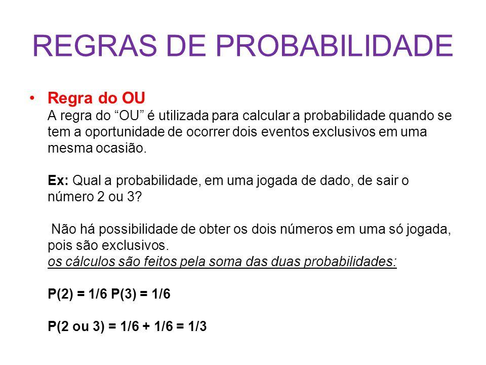 REGRAS DE PROBABILIDADE Regra do OU A regra do OU é utilizada para calcular a probabilidade quando se tem a oportunidade de ocorrer dois eventos exclusivos em uma mesma ocasião.