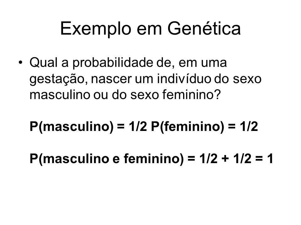 Exemplo em Genética Qual a probabilidade de, em uma gestação, nascer um indivíduo do sexo masculino ou do sexo feminino? P(masculino) = 1/2 P(feminino