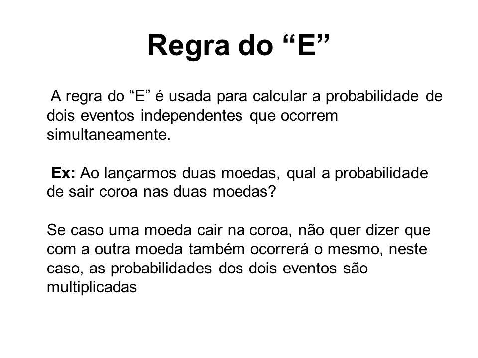 Regra do E A regra do E é usada para calcular a probabilidade de dois eventos independentes que ocorrem simultaneamente. Ex: Ao lançarmos duas moedas,