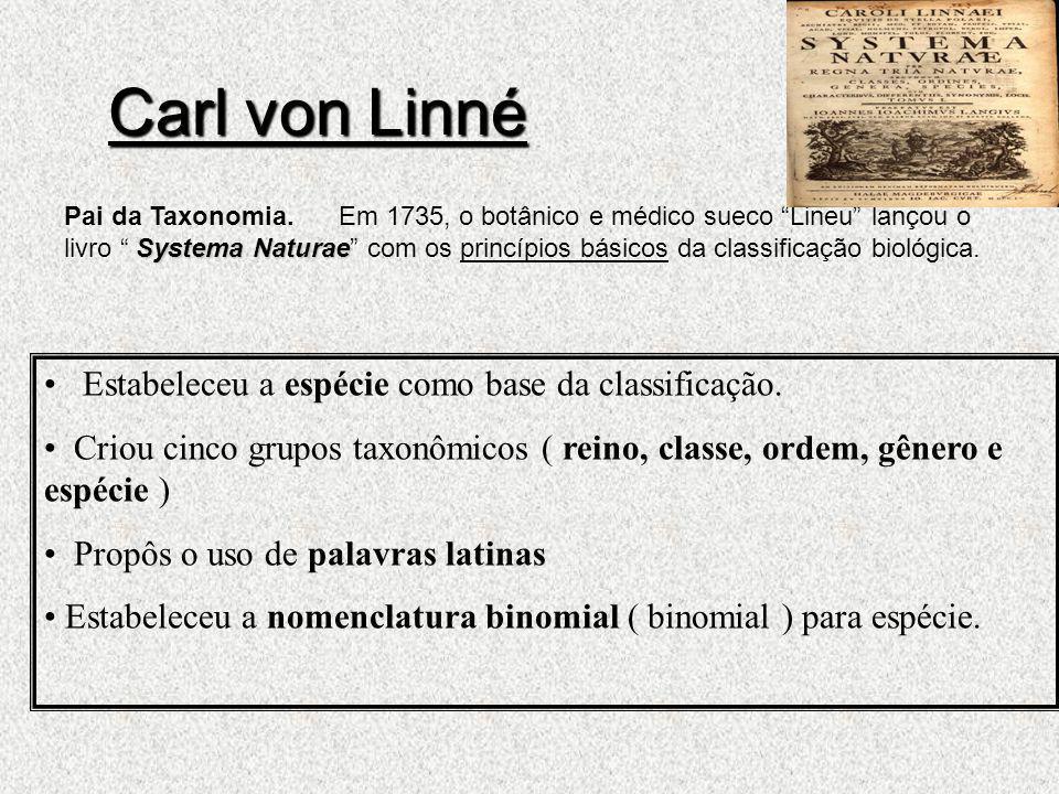 Carl von Linné Systema Naturae Pai da Taxonomia. Em 1735, o botânico e médico sueco Lineu lançou o livro Systema Naturae com os princípios básicos da